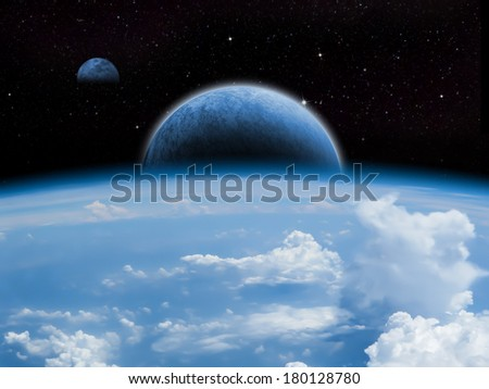 Sci-fi fantasy image of planets and space. - stock photo