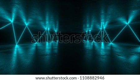 Sci-FI Futuristic Grunge Room With Chaotic Reflected Blue Neon Lights Forming Path With Concrete Reflections. 3D Rendering Illustration