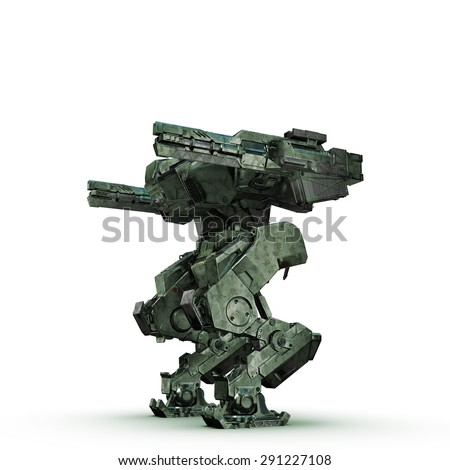 sci fi military camouflage robot on white background - stock photo