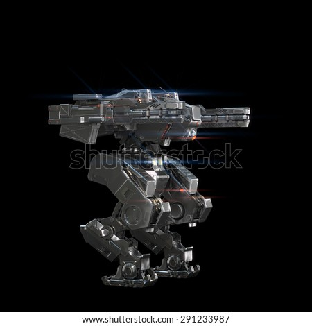 sci fi military robot neon light on white background