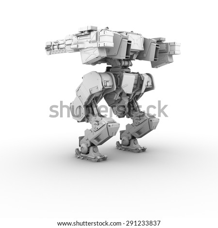 sci fi military robot on white background