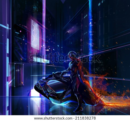 Sci-fi neon warrior on bike. Sci-fi neon warrior on futuristic bike with metal armor standing on a futuristic background. - stock photo