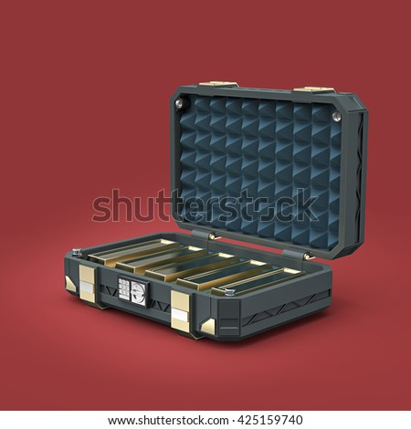 sci-fi reinforced metal sage case full of gold bars. 3D render isolated