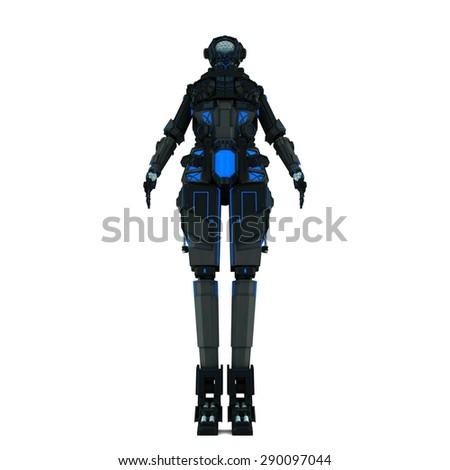sci fi robot dark light on white background - stock photo
