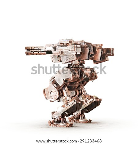 sci fi robot dirt gold on white background - stock photo