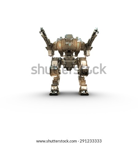 sci fi  robot gold  on white background