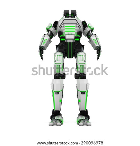 sci fi robot green  neonlight on white background - stock photo