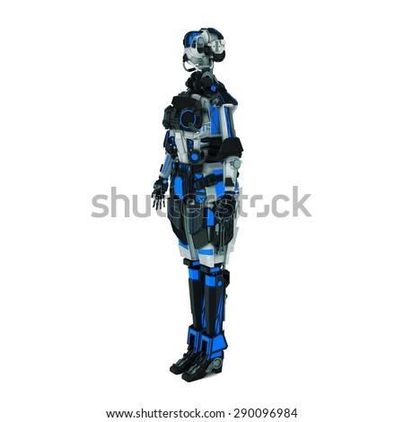 sci fi robot on white background - stock photo