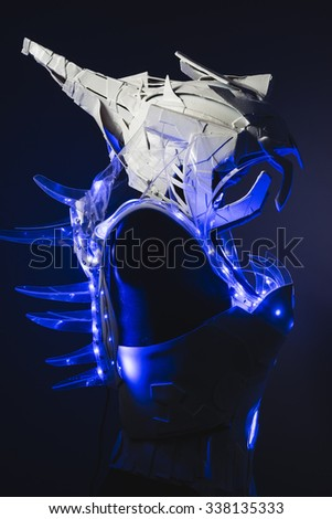 sci-fi robot, white suit with transparent plastic and LED lights on the body