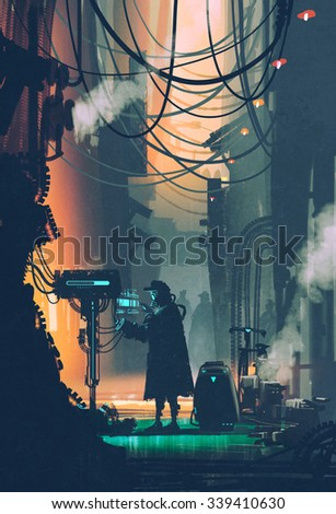sci-fi scene of robot using futuristic computer in city street,illustration painting - stock photo