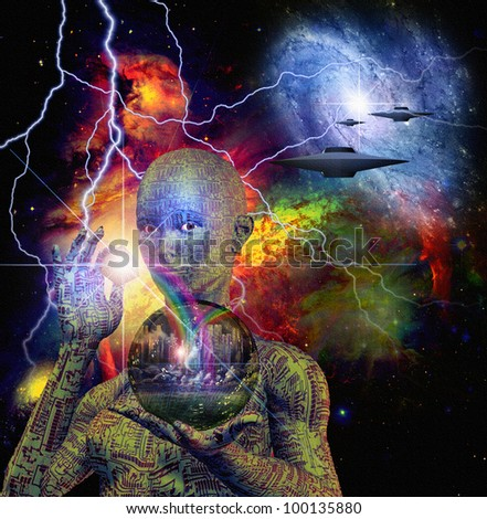 Sci Fi Scene with Android - stock photo