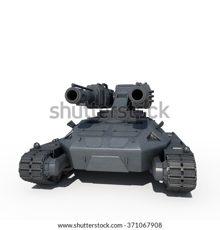 sci fi tank 3d isolated on a white screen