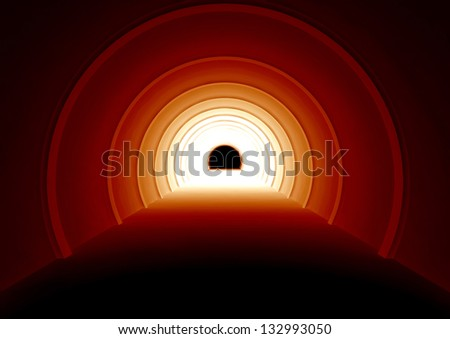 sci-fi tunnel with a bright light - 3d illustration - stock photo
