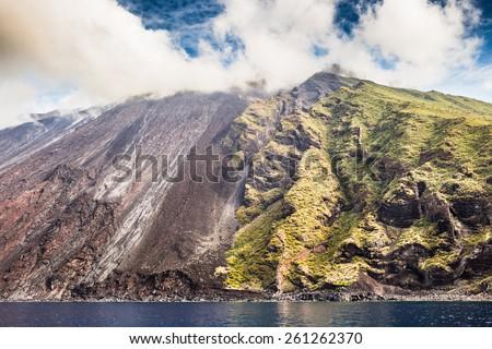 Sciara del fuoco in Stromboli  volcano island, Sicily, Italy. - stock photo