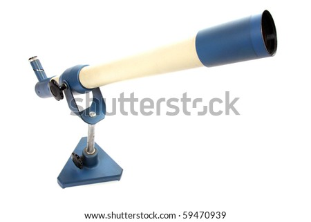 Science accessories. Inverting telescope on white background. Close up with shallow DOF. - stock photo