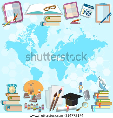 Science and education back to school world map online education student subjects university college math physics algebra, geometry - stock photo