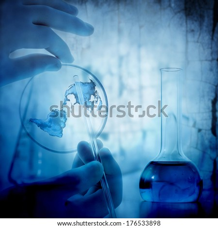 science and medical blue background - stock photo