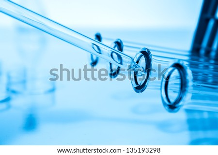 Science and medical glassware and test tube - stock photo