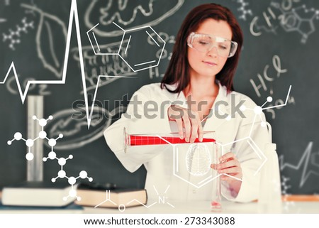 Science and medical graphic against focused young scientist pouring a liquid in a gratuated cylindre - stock photo