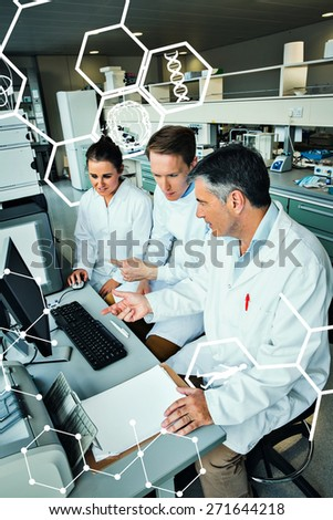 Science and medical graphic against team of scientists working together - stock photo
