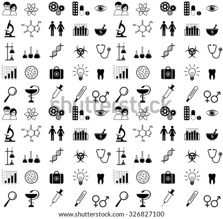 Science and medical icons. Seamless pattern. - stock photo