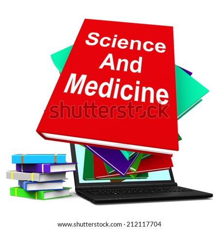 Science And Medicine Book Stack Laptop Showing Medical Research