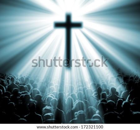 Science and religion. Christian religion. Illustration with cross of christ and believers - stock photo