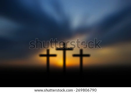 Science and religion. Christian religion. Illustration with cross of christ at sunset blur nature background