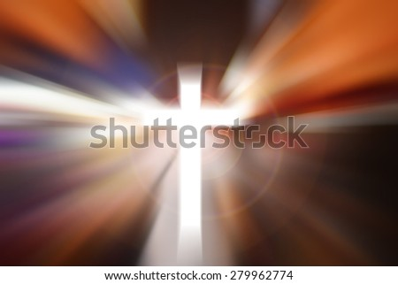 Science and religion. Christian religion. Illustration with cross of christ with flare - stock photo