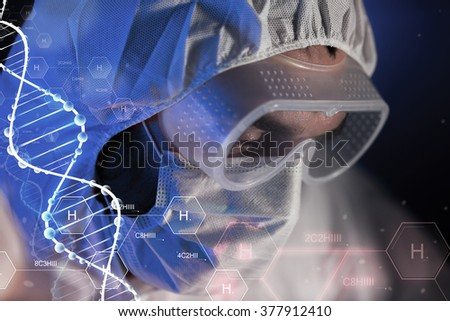 science, chemistry, biology, medicine and people concept - close up of scientist face in goggles and protective mask at chemical laboratory over hydrogen chemical formula and dna molecule structure - stock photo