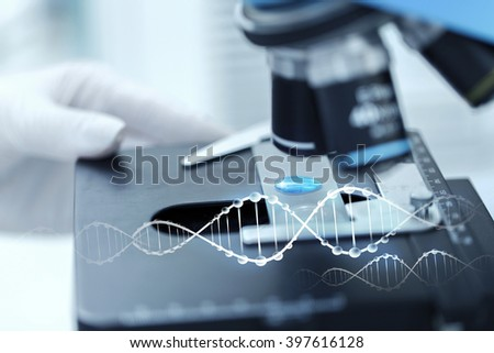 science, chemistry, biology, medicine and people concept - close up of scientist hand with test sample making research in clinical laboratory with dna molecule structure - stock photo