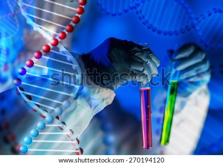 science, chemistry, biology, medicine and people concept - close up of young female scientist holding tubes with chemicals making test or research in laboratory over dna molecule structure - stock photo