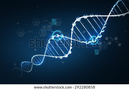 science, chemistry, biology, research and medicine concept - dna molecule chemical structure with hydrogen chemical formula over dark background - stock photo