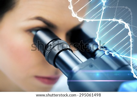science, chemistry, technology, biology and people concept - close up of young female scientist looking to microscope eyepiece and making research in clinical laboratory with dna molecule structure - stock photo