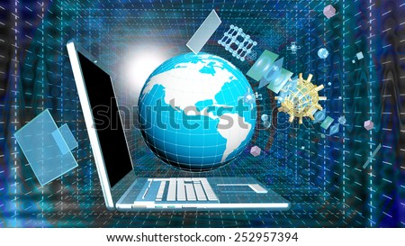 Science computers research.Internet.Connection.Cosmos communication - stock photo