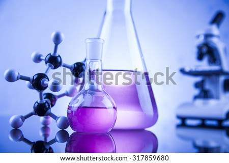 Science concept, Chemical laboratory glassware