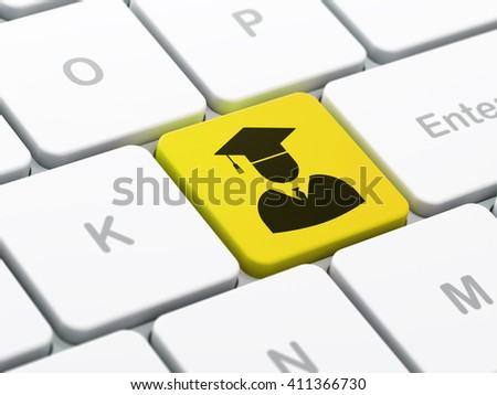 Science concept: computer keyboard with Student icon on enter button background, selected focus, 3D rendering - stock photo