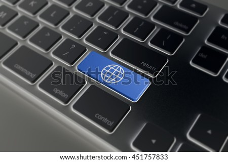 Science concept: Enter button with Globe on computer keyboard background, 3D rendering