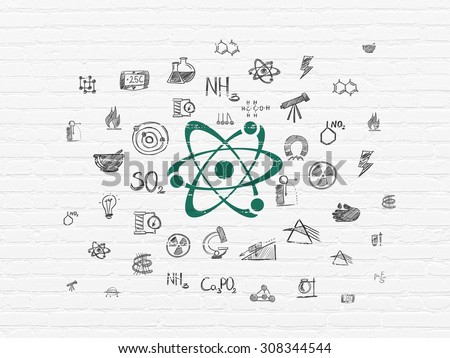 Science concept: Molecule on wall background - stock photo