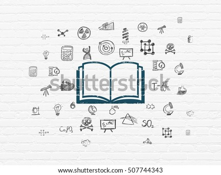 Science concept: Painted blue Book icon on White Brick wall background with  Hand Drawn Science Icons