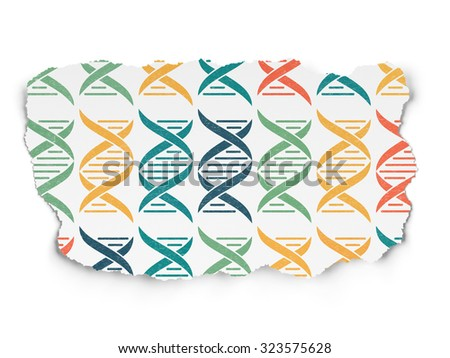 Science concept: Painted multicolor DNA icons on Torn Paper background