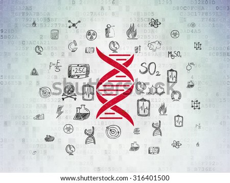 Science concept: Painted red DNA icon on Digital Paper background with  Hand Drawn Science Icons