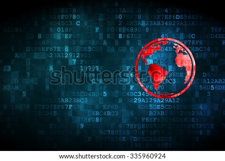 Science concept: pixelated Globe icon on digital background, empty copyspace for card, text, advertising - stock photo