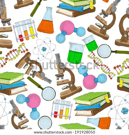 Science education sketch seamless wallpaper atom stock illustration science education sketch seamless wallpaper with atom structure flask laboratory equipment illustration ccuart Gallery