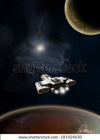 Science Fiction Battle Cruiser, Deep Space. Science fiction spaceship above a red planet in deep space, 3d digitally rendered illustration - stock photo