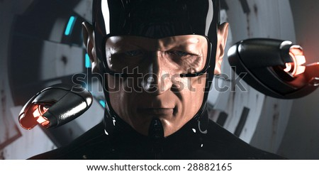 Science-fiction character from video game or movie (3D render) - stock photo