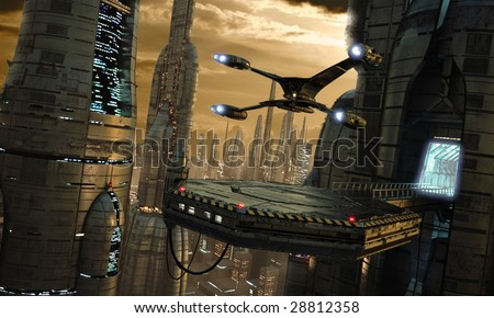 Science-fiction city scene with starfighter touching down (3D render) - stock photo