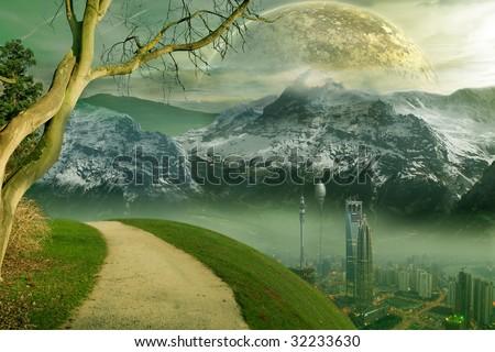 Science-Fiction City. Science-Fiction Landscape with planet. - stock photo