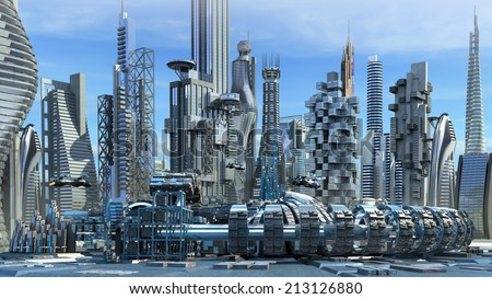 Science fiction city skyline with metallic skyscrapers and hoovering aircrafts for futuristic or fantasy architectural backgrounds  - stock photo