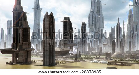 Science-fiction city with giant skyscrapers and flying spaceships